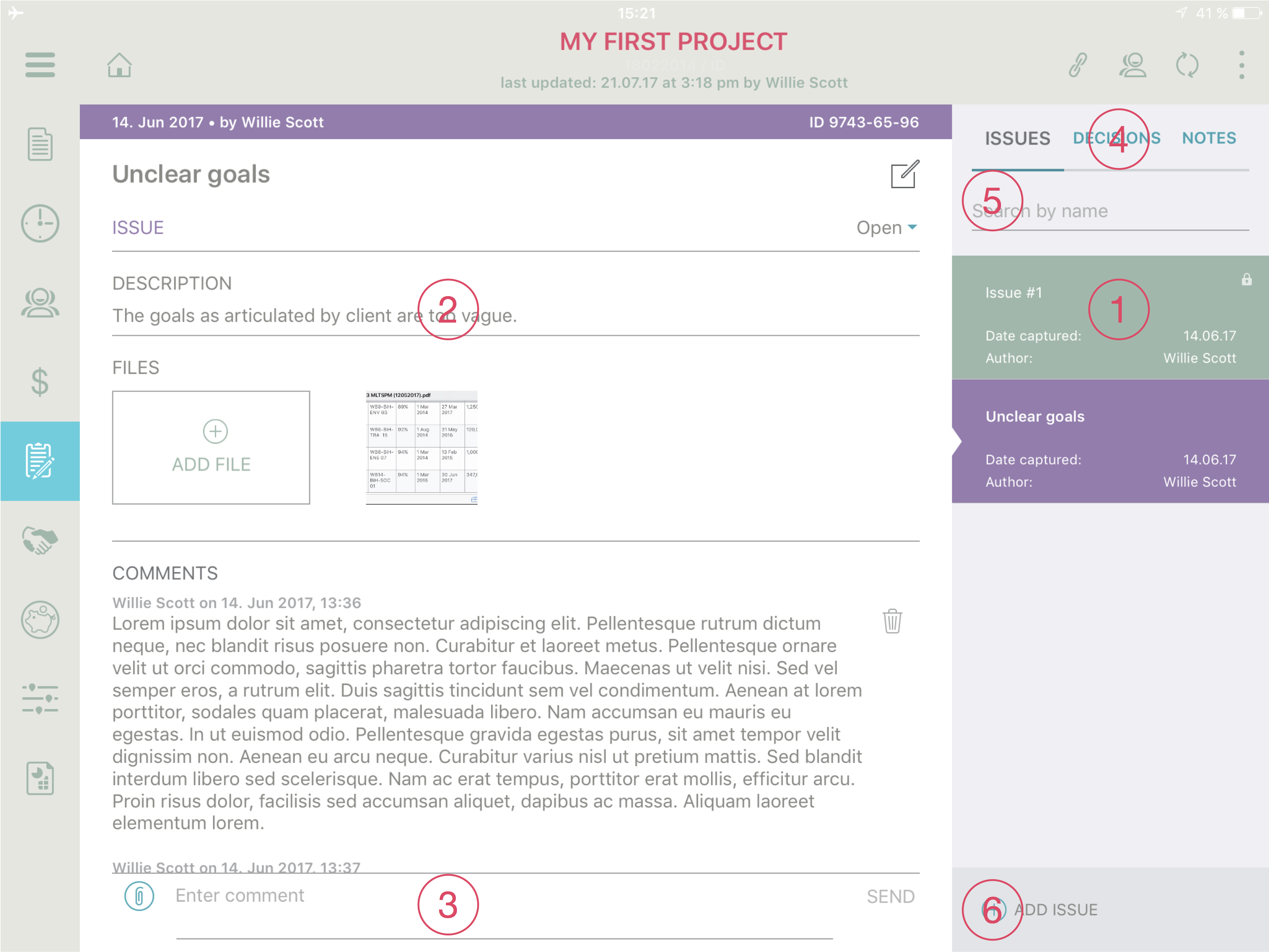 logbook screen prommpt project management